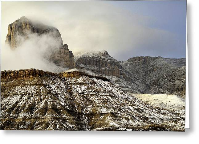 El Capitan Emerging Through The Clouds Greeting Card