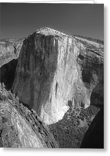 106663-el Capitan From Higher Cathedral Spire, Bw Greeting Card
