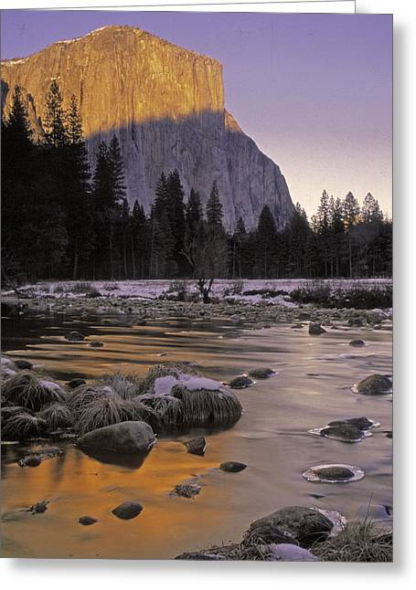 El Capitan Sunset And The Merced River Greeting Card