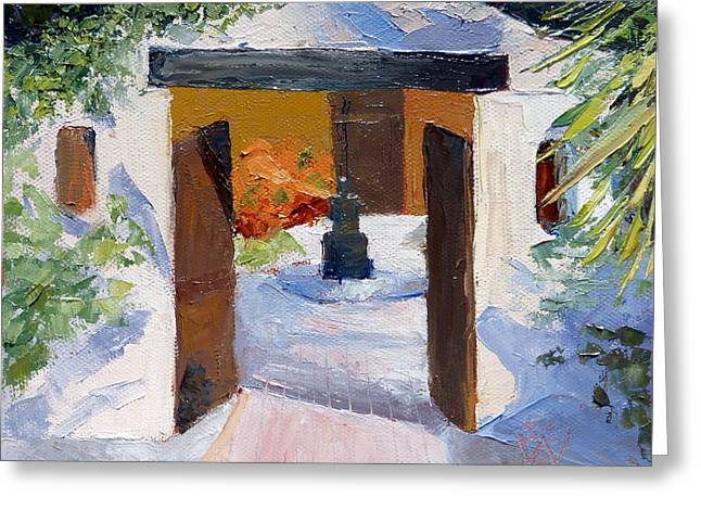 El Cortijo Galleries Greeting Card by Susan Woodward