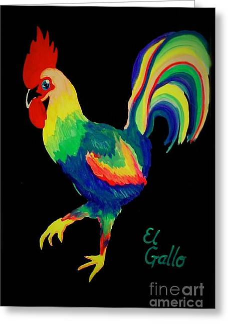 Greeting Card featuring the painting El Gallo by Marisela Mungia