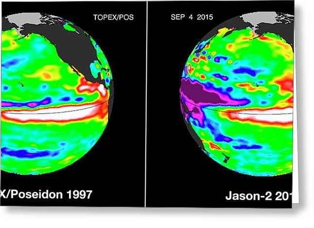 El Nino Comparison Greeting Card by Nasa/jpl-caltech