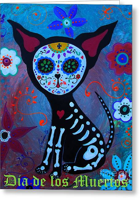 El Perrito Day Of The Dead Greeting Card by Pristine Cartera Turkus