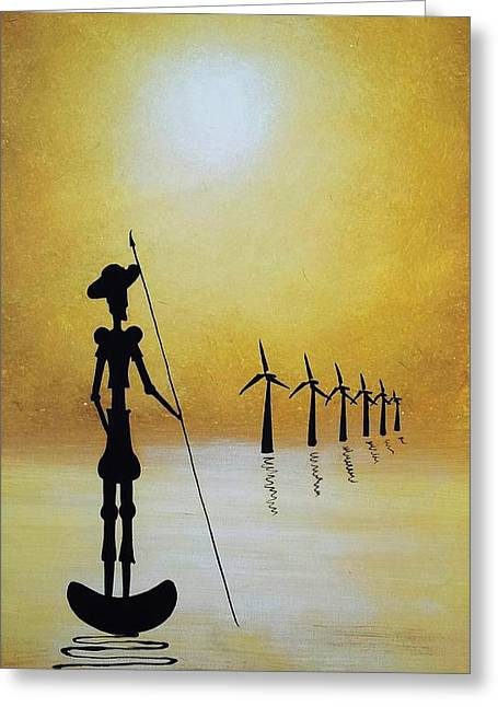 Don Quixote Fighting The Windmills Greeting Card by Edwin Alverio
