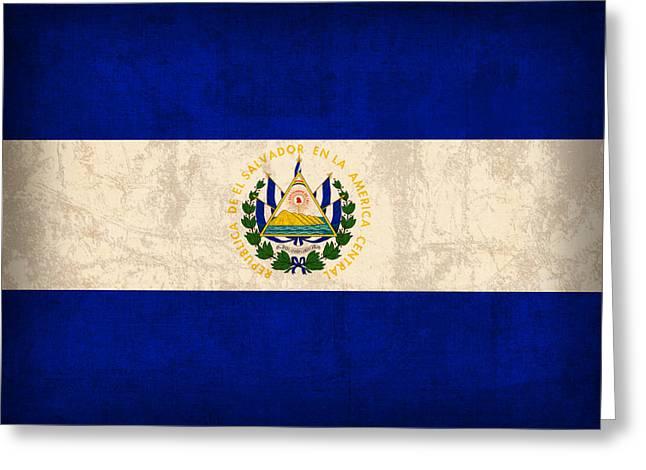 El Salvador Flag Vintage Distressed Finish Greeting Card by Design Turnpike