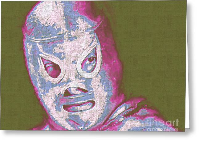 El Santo The Masked Wrestler 20130218v2m168 Greeting Card by Wingsdomain Art and Photography