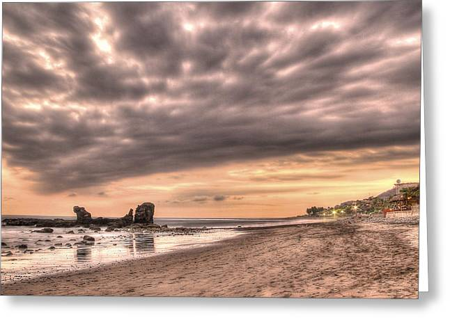 El Tunco Sunset - El Salvador Greeting Card by Simon Northcott