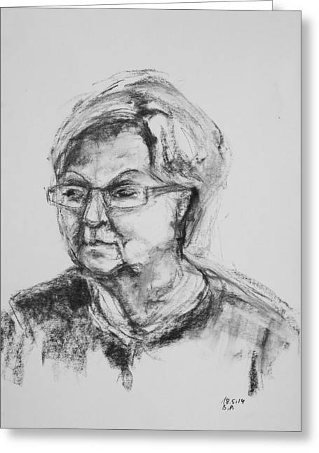 Elderly Lady With Glasses Greeting Card by Barbara Pommerenke