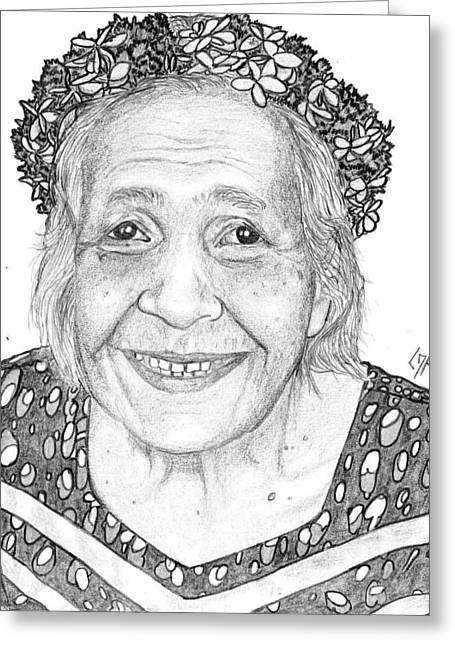 Greeting Card featuring the drawing Elderly Marshallese Woman by Lew Davis
