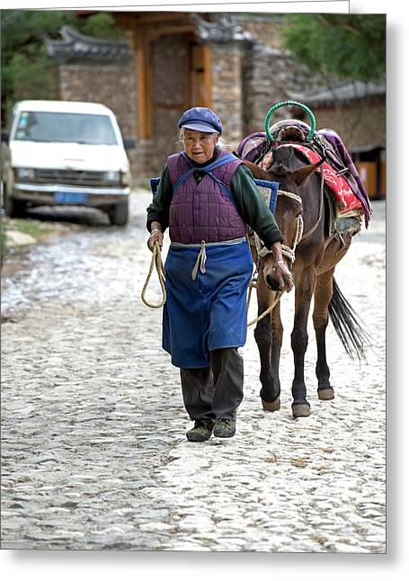 Elderly Naxi Woman With Her Horse Greeting Card