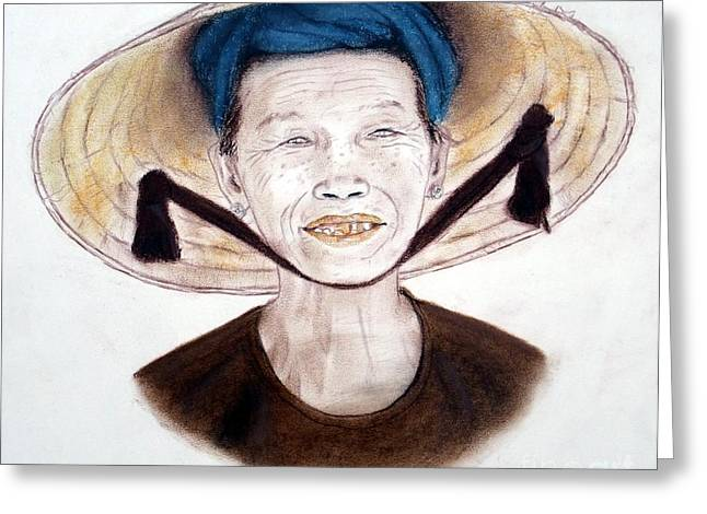 Elderly Vietnamese Woman Wearing A Conical Hat Greeting Card