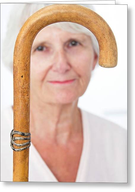Elderly Woman And Walking Stick Greeting Card by Lea Paterson
