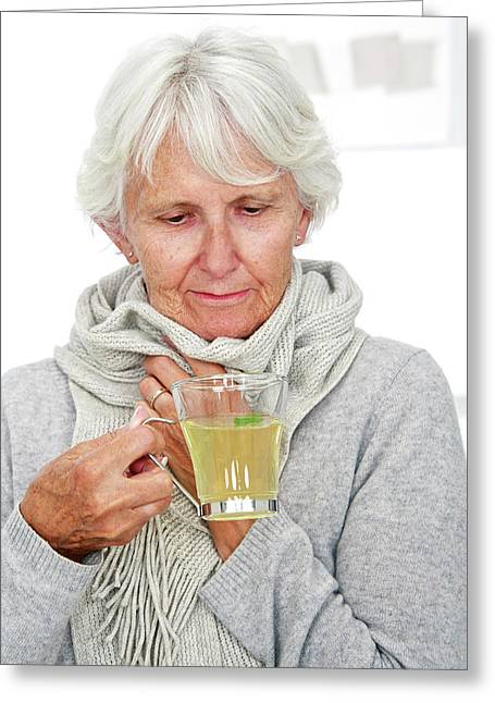 Elderly Woman Drinking Hot Lemon Greeting Card by Lea Paterson