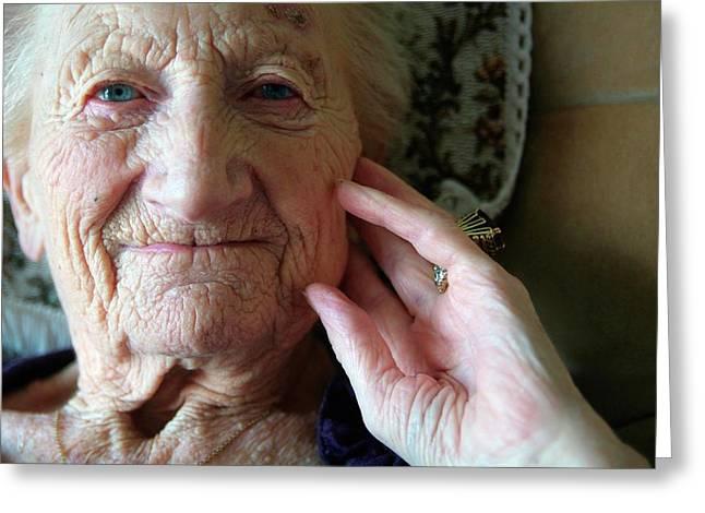Elderly Woman Greeting Card by Hannah Gal