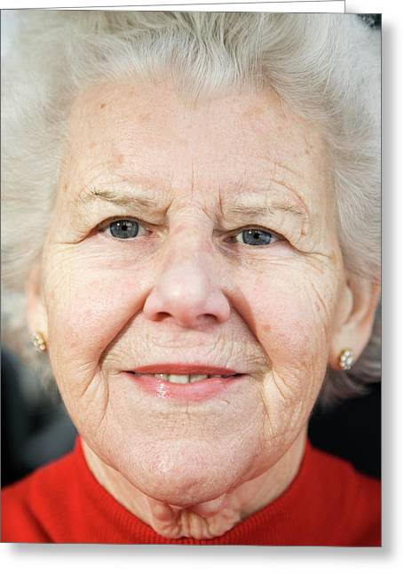 Elderly Woman Smiling Greeting Card by Cristina Pedrazzini/science Photo Library