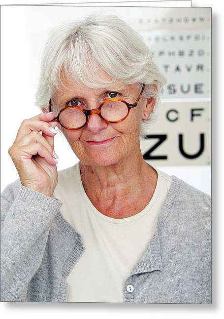 Elderly Woman Wearing Glasses Greeting Card by Lea Paterson