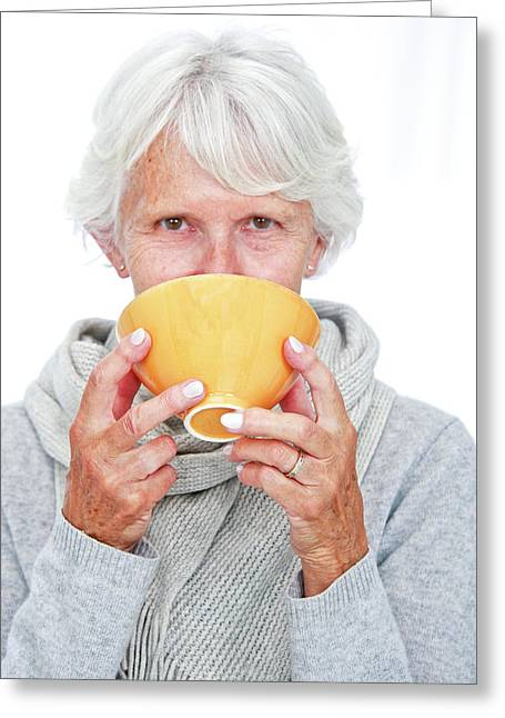 Elderly Woman With A Hot Drink Greeting Card