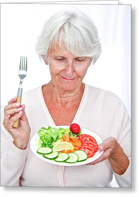 Elderly Woman With A Salad Greeting Card by Lea Paterson