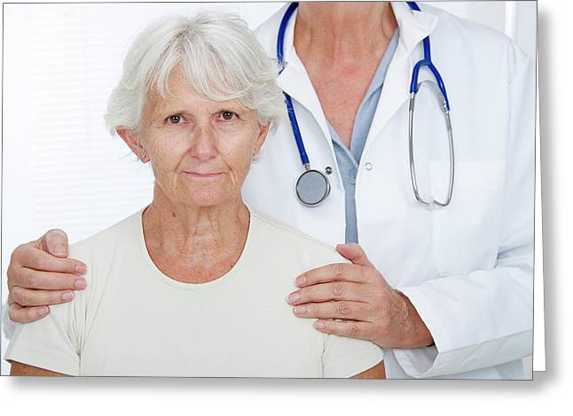 Elderly Woman With Doctor Greeting Card