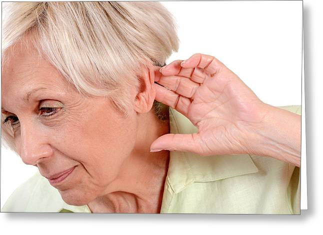 Elderly Woman With Hearing Loss Greeting Card