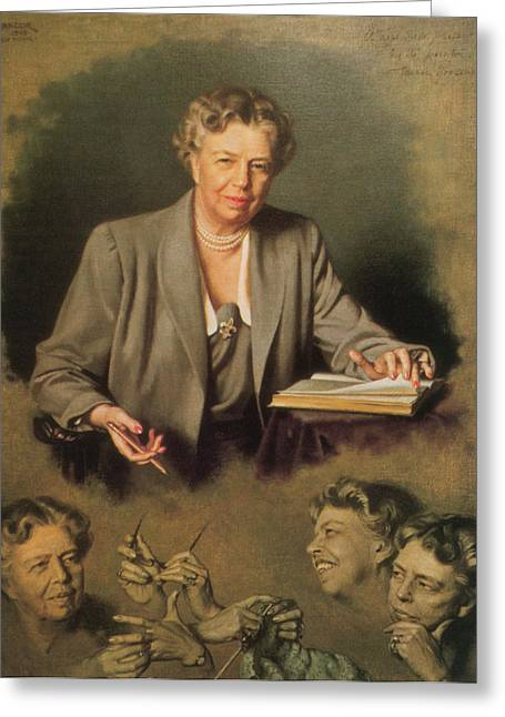 Eleanor Roosevelt, First Lady Greeting Card by Science Source