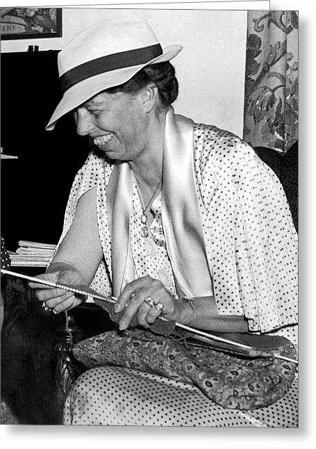 Eleanor Roosevelt Knitting Greeting Card by Underwood Archives