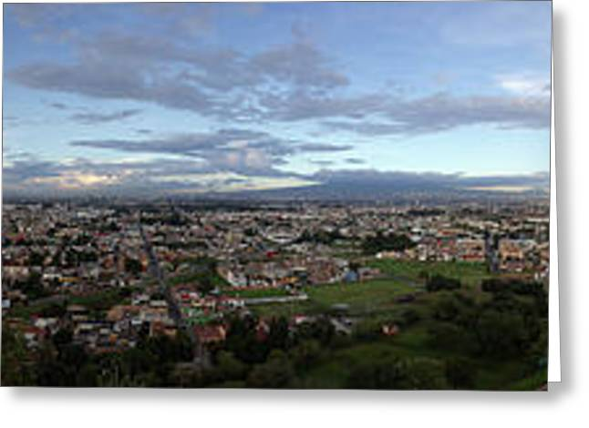 Eleated View Of Cityscape, Cholula Greeting Card