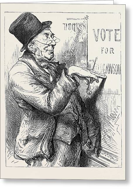 Election Sketches Local Option 1880 Greeting Card by English School