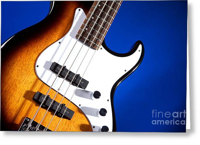 Electric Bass Guitar Photograph On Blue 3322.02 Greeting Card by M K  Miller