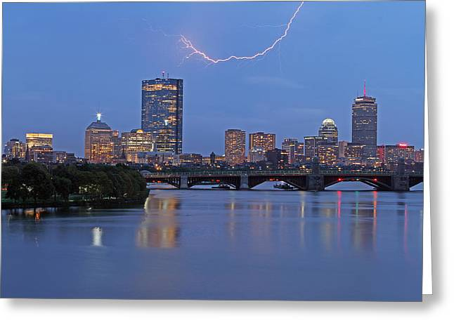Electric Boston Greeting Card by Juergen Roth