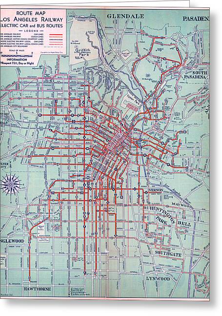 Electric Car And Bus Routes In L.a Greeting Card by MotionAge Designs