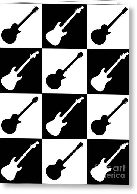 Electric Guitar Checkerboard Greeting Card