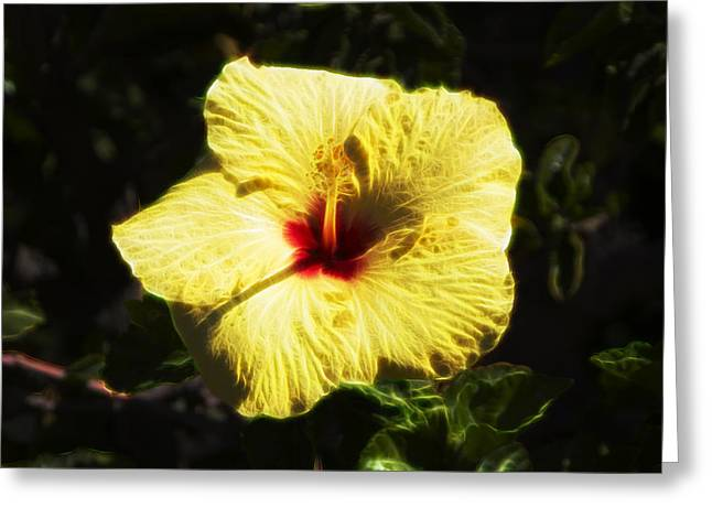 Greeting Card featuring the digital art Electric Hibiscus by Photographic Art by Russel Ray Photos