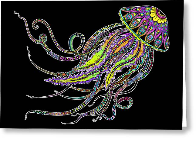 Electric Jellyfish On Black Greeting Card by Tammy Wetzel