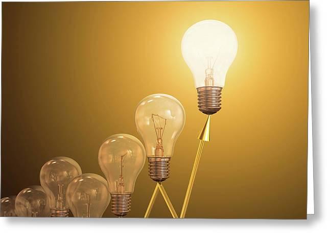 Electric Light Bulbs Greeting Card by Ktsdesign