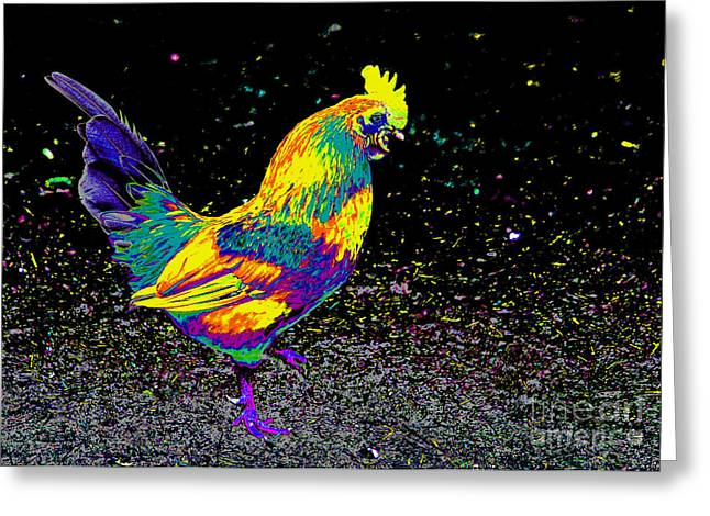 Electric Neon Rooster Greeting Card