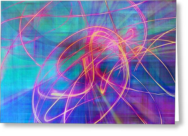Electric Neon Swirls Of Light Abstract Greeting Card by Judy Palkimas
