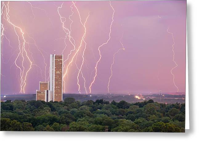 Electric Night - Cityplex Towers - Tulsa Oklahoma Greeting Card