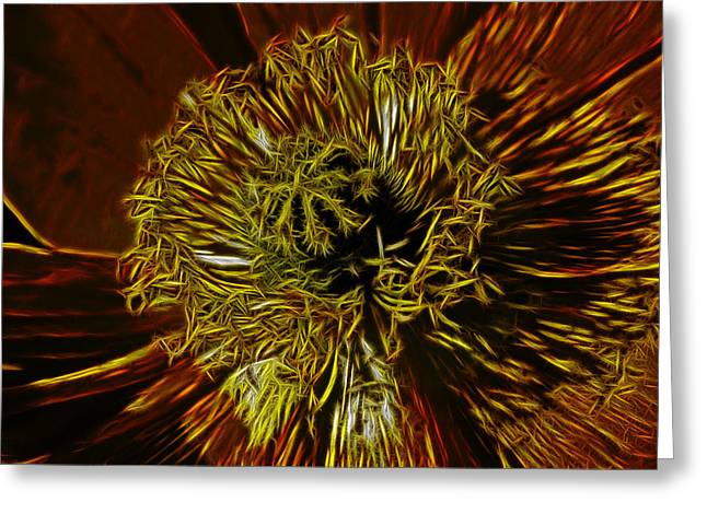 Electric Poppy Greeting Card by Photographic Art by Russel Ray Photos