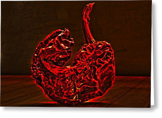 Electric Red Pepper Greeting Card