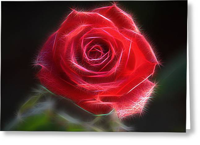 Electric Rose Greeting Card by Ronald T Williams