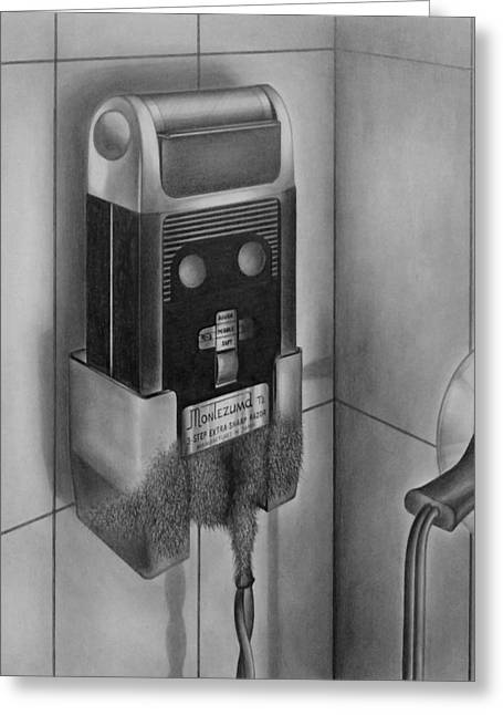 Electric Shaver With Beard - Pencil Greeting Card by Art America Gallery Peter Potter