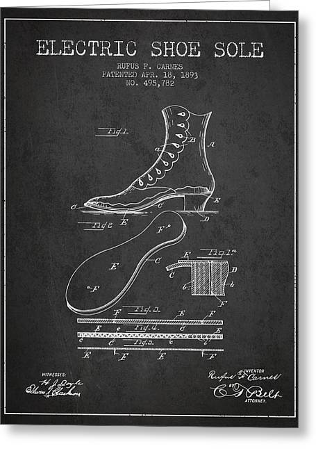Electric Shoe Sole Patent From 1893 - Charcoal Greeting Card by Aged Pixel