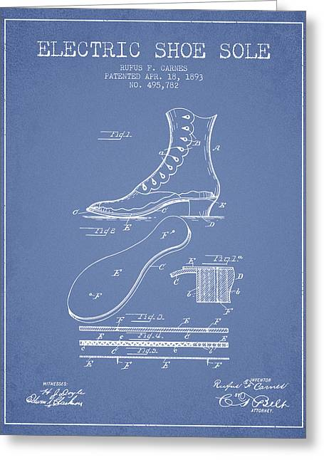 Electric Shoe Sole Patent From 1893 - Light Blue Greeting Card by Aged Pixel