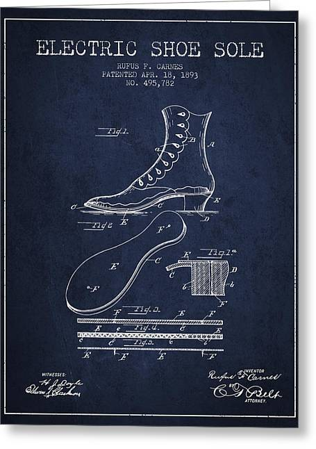 Electric Shoe Sole Patent From 1893 - Navy Blue Greeting Card
