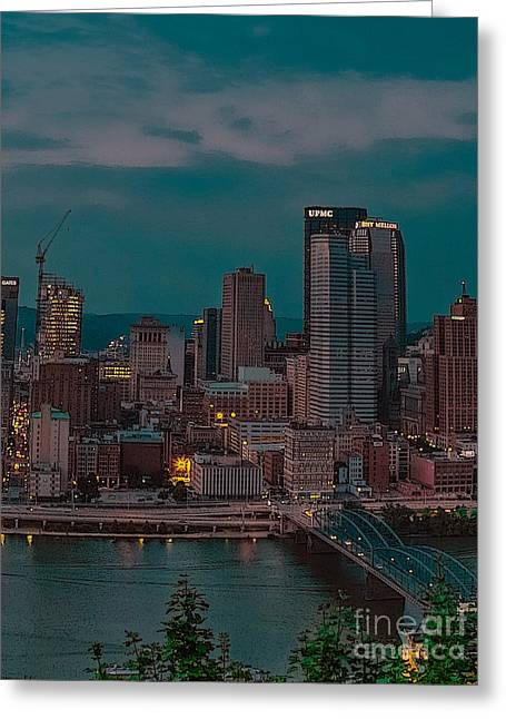 Electric Steel City Greeting Card by Charlie Cliques
