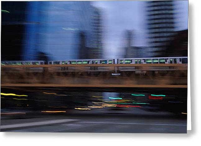 Electric Train Crossing A Bridge Greeting Card by Panoramic Images