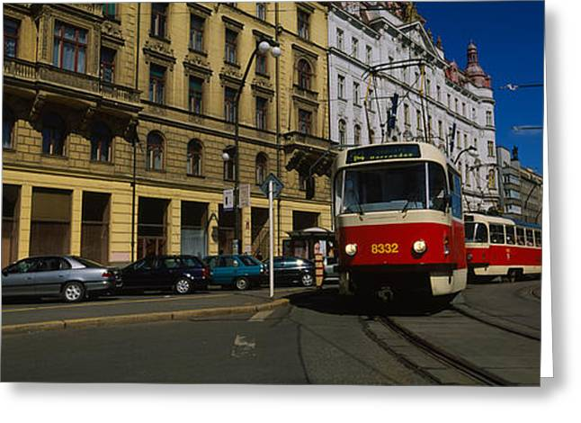 Electric Train On A Street, Prague Greeting Card by Panoramic Images