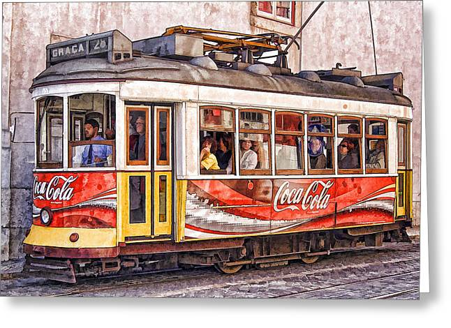 Electric Trolly Of Lisbon Greeting Card by David Letts