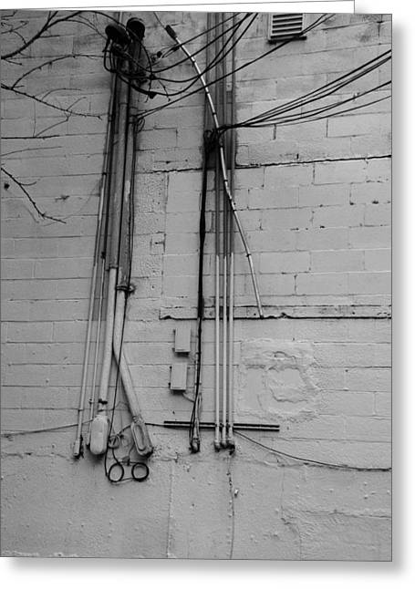 Electric Wall In Black And White Greeting Card by Rob Hans